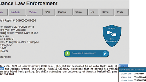 Nuance's new cloud-based Dragon Professional Anywhere gives law enforcement officers the ability...