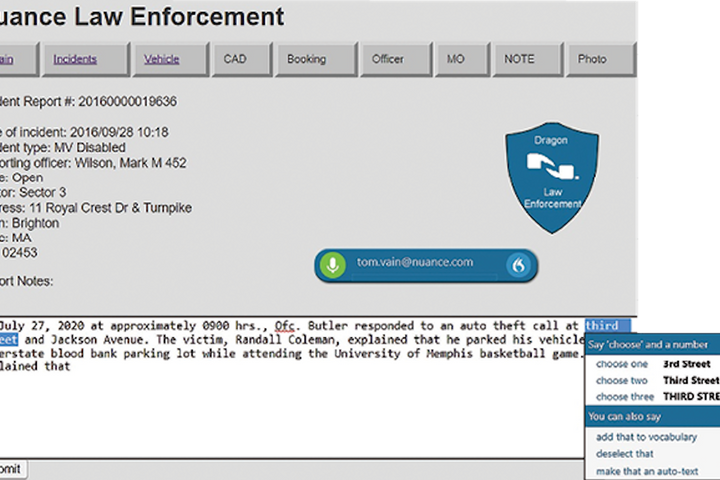 Nuance's new cloud-based Dragon Professional Anywhere gives law enforcement officers the ability to create reports and take notes on computers and mobile devices in the field. (Photo: Nuance) -
