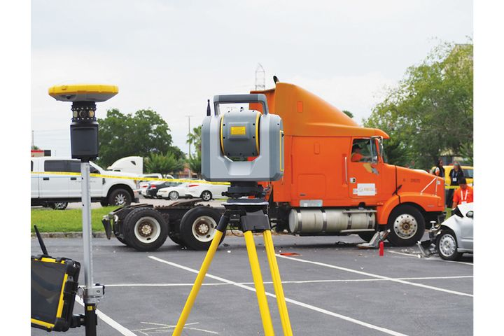Trimble's SX10 is a scanning total station that lets an accident reconstruction specialist or crime scene investigator collect all of their scans, photographs, and measurements on one device. - (Photo: Trimble)