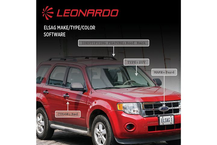 Leonardo's ELSAG LPR data can now be processed to include the vehicle's make, type, and general color. The solution actively recognizes the 34 most common vehicle brands. roads. (Photo: Leonardo) -