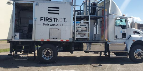 One of FirstNet's deployable broadband backup vehicles that was sent to Calcasieu Parish, LA, in...