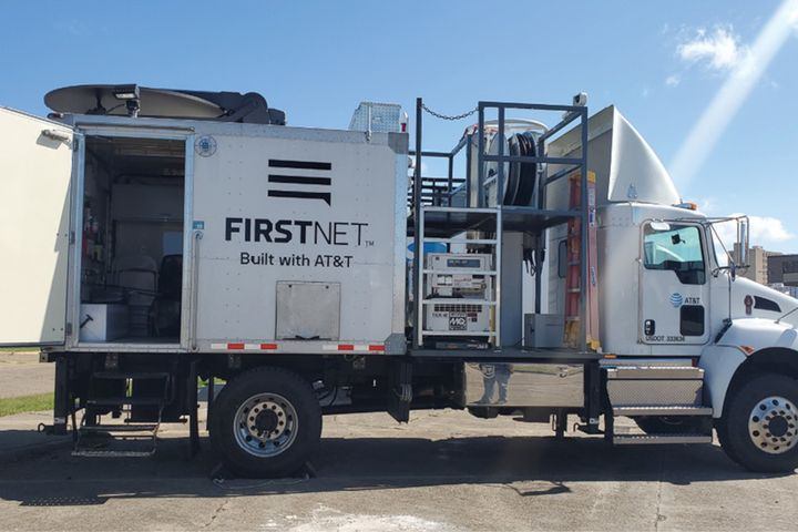 One of FirstNet's deployable broadband backup vehicles that was sent to Calcasieu Parish, LA, in the wake of Hurricane Laura. (Photo: ATT/FirstNet -