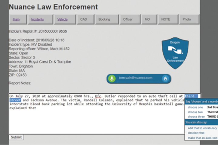 Nuance's Dragon Professional Anywhere is the company's new cloud-based law enforcement dictation software. It includes an app for mobile devices.(Photo: Nuance) -