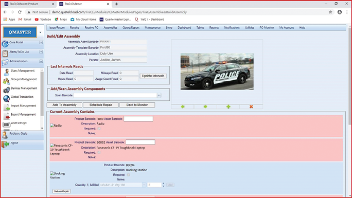 Omnigo's QueTel Quartermaster software tracks the complete inventory of the agency's equipment, including vehicles and all of the gear inside them. (Photo: Omnigo) -
