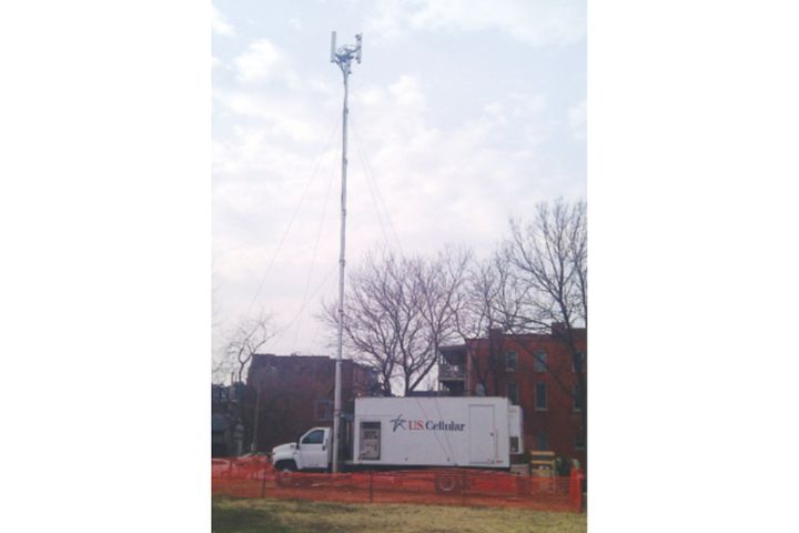 A U.S. Cellular cellsite on light truck (COLT) set up in the field to provide voice and data communications for first responders. (Photo: U.S. Cellular) -