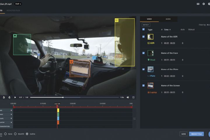 Veritone's Redact tool automatically detects heads, license plates, and computer screens in video evidence and groups them for easier editing. (Photo: Veritone) -