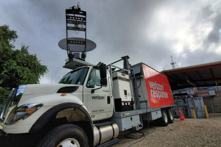 Verizon sent satellite cellsites on light trucks (SatCOLT) like this one to disaster zones to aid first responders this summer. (Photo: Verizon) -