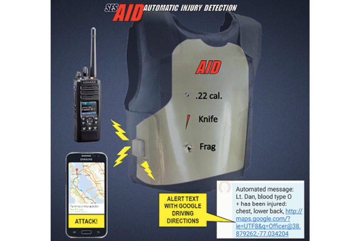 The AID panel will automatically send an alert telling other officers that you have been injured if it is penetrated. -