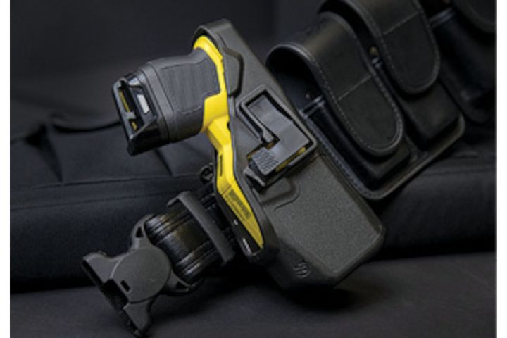 Blackhawk's TASER 7 holster requires a cross draw and the user must rock the TASER out of the holster. -
