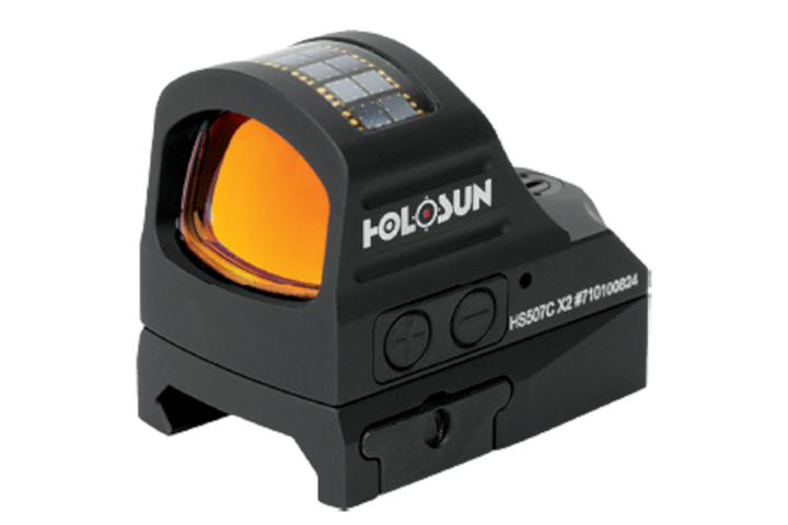 Features of the HS507C open reflex optical sight include: Holosun's Super LED, multi-reticle system, and solar failsafe. -