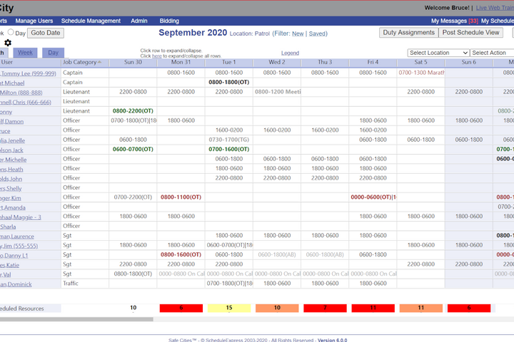 Sample Schedule Express master schedule screen for an agency client. -
