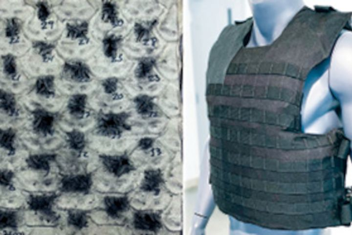 Verco Materials' UrbanShieldMH rifle-protection personal armor system was tested to stop 30 M855 (green tip) rounds in a single panel. -