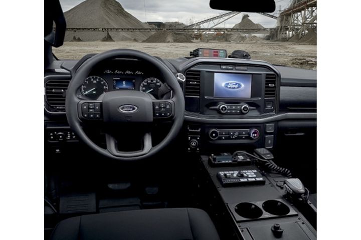 The interior of the 2021 Ford F-150 Police Responder has been upgraded from the 2017 model. Features include an 8-inch touch screen for the Sync 4 system. Upfitting is made easier by the design of the front console, the top tray on the instrument panel, and the rear power lug. -