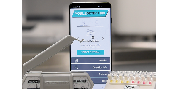 The MobileDetect Bio (DetectaChem) BCC19 COVID testing system includes the testing reagent,...