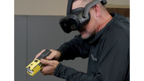 HTC's Vive Focus 3 headset is a critical element of Axon's Virtual Reality Simulation Training...