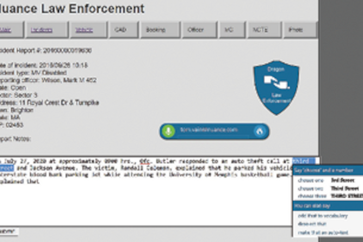 Nuance's new cloud-based Dragon Professional Anywhere gives law enforcement officers the ability to create reports and take notes on computers and mobile devices in the field. -