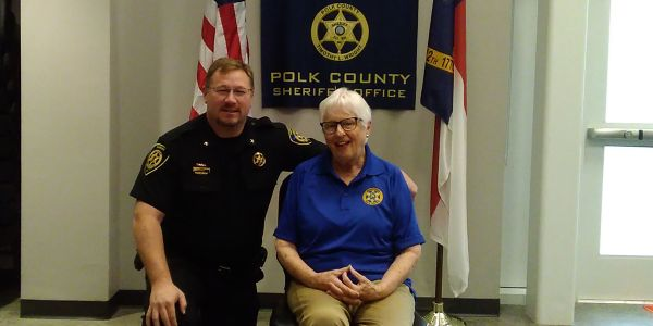 Polk County (NC) Sheriff Tim Wright with Peggy Wyllie, a newly minted non-sworn citizen...