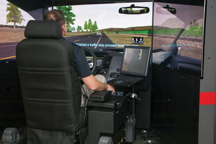 L3Harris demonstrated its new PatrolSim driving trainer, which features EyeTracker, a machine learning feature that monitors where the driver is looking. (Photo: L3 Harris)