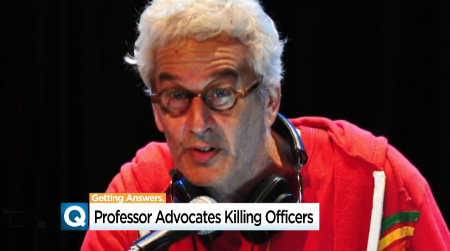"""Professor Joshua Clover—who teaches English and comparative literature at UC Davis, and according to his official bio, specializes in Marxism and """"the end of capitalism""""—said in an interview published in early 2016, """"People think that cops need to be reformed. They need to be killed.""""  - Image courtesy of CBS13 News (screen grab of video news report)."""