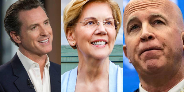 California Governor Gavin Newsom, Democratic presidential hopeful Elizabeth Warren, and NYPD...