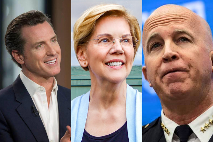 California Governor Gavin Newsom, Democratic presidential hopeful Elizabeth Warren, and NYPD Police Commissioner James O'Neill (left to right) have all made headlines in the past couple of weeks that may lead to worsening the continuing trends of deadly hesitation and de-policing in America.