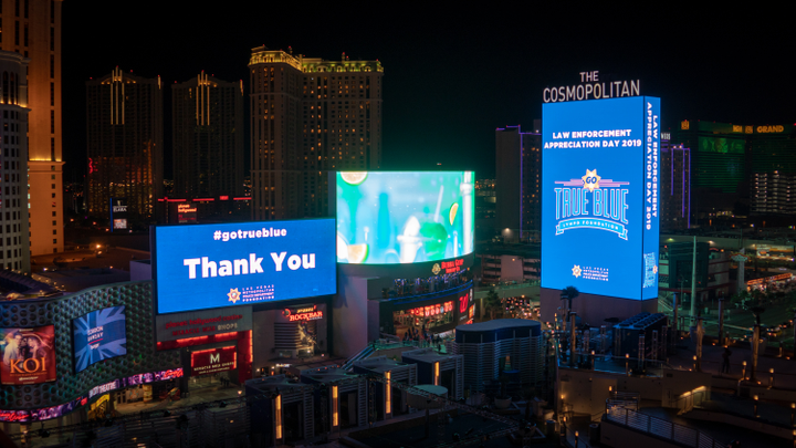 Marquees on the Las Vegas Strip—and throughout Nevada—were illuminated in blue on Wednesday as part of the Las Vegas Metropolitan Police Department (LVMPD) Foundation's Go True Blue Campaign in commemoration of National Law Enforcement Appreciation Day.  - Image courtesy of theLas Vegas Metropolitan Police Department Foundation.