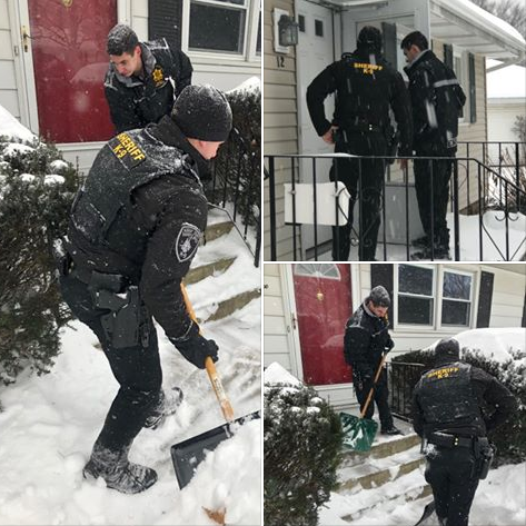 Deputies with the Albany County (NY) Sheriff's Office were caught on camera in an act of kindness for elderly citizens trapped in their homes by a recent blizzard. When it was established that the individuals were safe from the inclement weather, the deputies took snow shovels in hand to clear the snow from front steps and sidewalks.