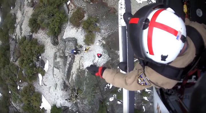 Late last week, the California Highway Patrol Air Unit was called upon to help locate and rescue two hikers at Yosemite National Park. The agency posted video footage to its Facebook page of the ensuing operation.  - Image courtesy of California Highway Patrol / Facebook.