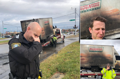 """In the wake of a humorous Tweet posted by the Lexington Police Department """"mourning"""" the loss of a Krispy Kreme donut truck to fire, agencies around the country are sending their """"condolences"""" and words of support via Twitter.  - Image courtesy of Lexington PD / Twitter."""