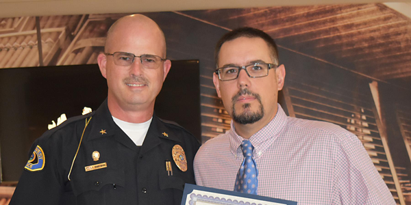Key West Police Chief Sean Brandenburg, during an awards ceremony Friday at the Grand Key...