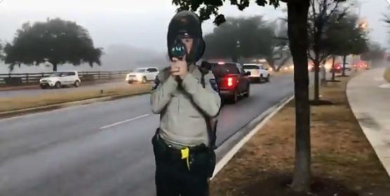 The Williamson County (TX) Sheriff's Office has deployed life-sized cardboard cutouts of officers holding radar guns in an effort to reduce speeding on surface streets.  - Image courtesy ofWilliamson County SO / Twitter.