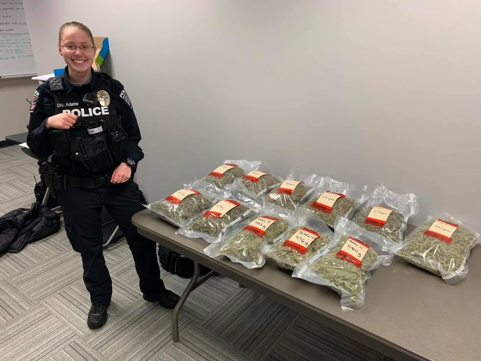 Officer Katelynn Adams seized 14 pounds of marijuana during a traffic stop. 