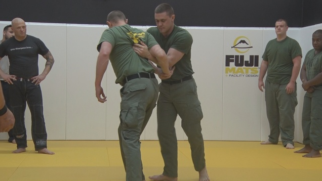 Retired mixed martial arts fighter Jorge Gurgel is providing training to police officers with the Lewisburg (WV) Police Department to help them remain safe on the streets.  - Photo: WVNS screenshot