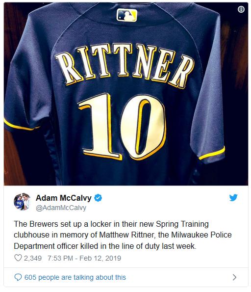 Milwaukee Brewers Baseball Team Honors Fallen Officer