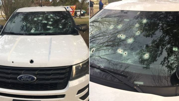 Photo of damage to a Berkeley County Sheriff's Office patrol vehicle communicate the ferocity of the gunfight. (Photos: Berkeley County SO)