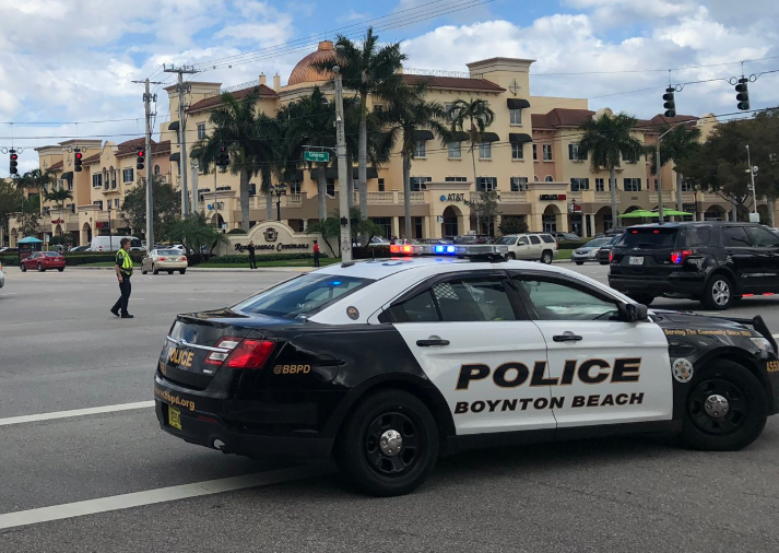 An officer with the Boynton Beach (FL) Police Department was struck by a vehicle as he was involved in a foot pursuit of a shoplifting suspect.  - Image courtesy of Boynton Beach PD / Twitter.