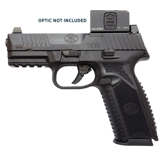 The FN 509 MRD is an optics-ready duty gun. Here it is fitted with Aimpoint's ACRO P-1, which was also introduced at SHOT. The 509 MRD can accommodate more than 10 popular optics. (Photo: FN America)   -