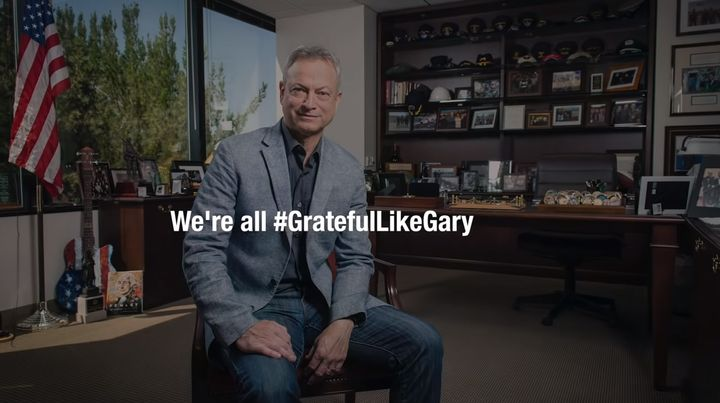 Dozens of individuals from the military, police, and fire services were joined by their families and dozens of Hollywood legends in the creation of a video tribute and thanks for his tireless work with the Gary Sinise Foundation.  - Image courtesy of YouTube.