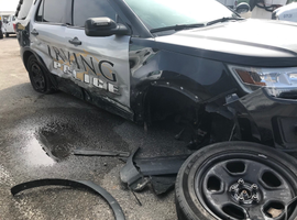 An officer with the Irving (TX) Police Department was injured when a suspected drunk driver struck his patrol vehicle as she was attending to a hit-and-run collision in the very early hours on Sunday. The injuries to the officer were reportedly minor but she was transported to a nearby hospital as a precaution.