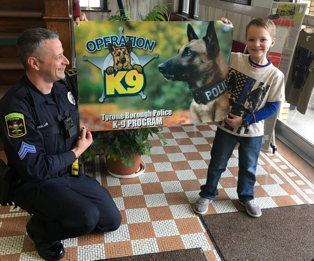 "The Tyrone Borough (PA) Police Department posted on Facebook, ""Today we had a very special visitor. Cole Stine donated $500 to the K-9 fund. Instead of presents this year he asked for donations so he could help the Police Department K-9 fund! Thank you Cole for going above and beyond and realizing how important this K-9 officer is to this department!""