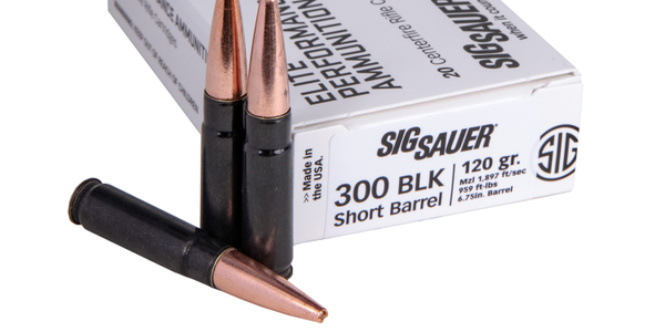 SIG Sauer's supersonic SBR Elite Copper Duty ammunition features an all-copper bullet and black...