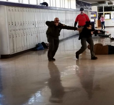 The Glenn County Sheriff's Office in California's Central Valley conducted its annual active shooter response training in an area high school over the weekend. The Orland Police Department and Willows Fire Department also participated in the drills, as well as dozens of volunteers who acted as role players in the scenarios.