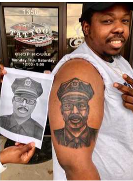 Rashad Carraway honored his fallen father, Florence, SC, police Sgt. Terrence Carraway, with a tribute in ink. Sgt. Carraway was killed last October when he came to the aid of Florence County Sheriff's deputies who were ambushed while serving a warrant. (Photo: Rashad Carraway)