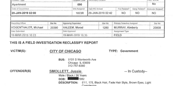 Screen capture of Jussie Smollett police report released by the Chicago Police Wednesday....
