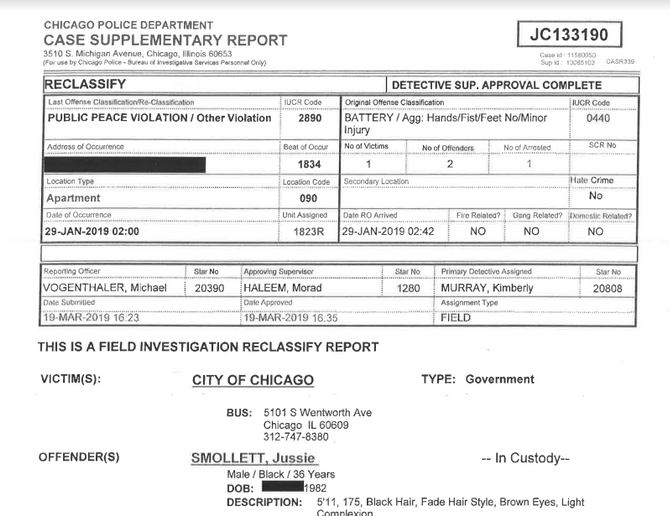 Screen capture of Jussie Smollett police report released by the Chicago Police Wednesday. (Photo: CWBChicago.com/Facebook)