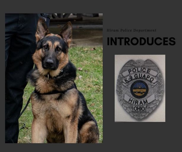 Officers with the Hiram (OH) Police Department will soon have the assistance of a pure bred German Shepherd born in July 2017 in the Czech Republic.