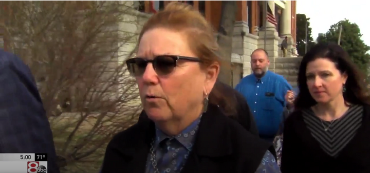 """Former Nowata County (OK) Sheriff Terry Sue Barnett arrives for a court hearing Tuesday. Barnett, all of her deputies, and even a K-9 resigned over """"dangerous"""" jail conditions Monday. (Photo: ABC Tulsa)  -"""