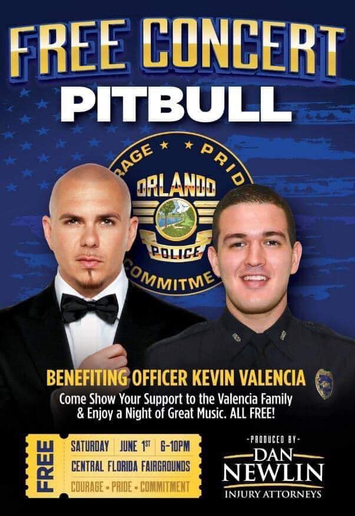 The music artist known as Pitbull will hold a free concert to benefit badly wounded Orlando Police Officer Kevin Valencia and his family.