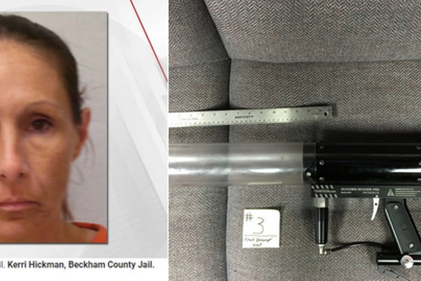 Kerri Jo Hickman is accused of using a T-shirt gun to launch cellphones and drugs into an...