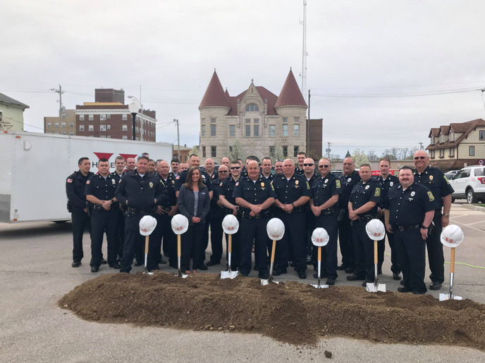 Officials in Huntington, Indiana gathered on Wednesday with members of that city's police department and several members of the community to celebrate the groundbreaking of a new headquarters facility.
